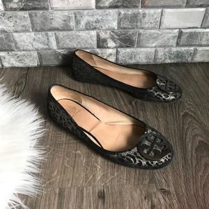 Tory Burch Reva black leopard print Ballet flats